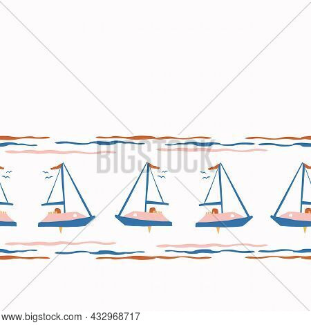 Abstract Playful Matisse Style Cut Out Boat Pattern. Seamless Modern Simple Collage Style Design For
