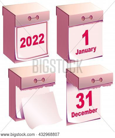 Tear-off Calendar 2022. New Year Clean Calendar Template December And January Month
