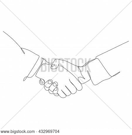 Continuous Single Line Drawing Of Businessmen Handshake To Make A Deal. Handshaking Of Business Part