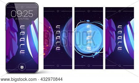 Smartphone Lock Screen With Space And Planets. Cartoon Design Of Mobile Phone Onboard Pages, Wallpap