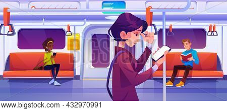 People In Subway Train Car. Women With Mobile Phones And Man With Book In Metro Wagon With Illuminat