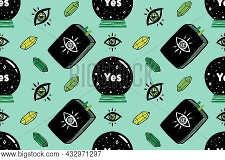 Vector Seamless Pattern Background With Crystal Ball, Mystical Eyes, Esoteric Books And Gems For Mag