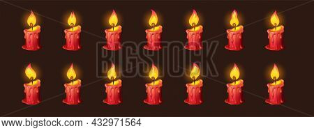Burning Fire On Candle For 2d Animation Or Video Game. Vector Cartoon Animation Sprite Sheet With Se