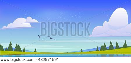 Summer Nature Landscape, Scenery Valley With Lake, Mountains, Green Field And Conifers Trees. Pond A