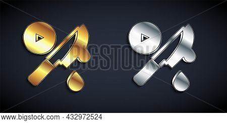 Gold And Silver Thriller Movie Icon Isolated On Black Background. Bloody Knife. Suspenseful Cinema G