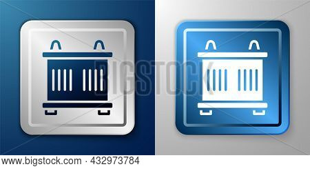 White Container Icon Isolated On Blue And Grey Background. Crane Lifts A Container With Cargo. Silve