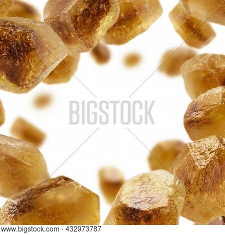 Caramelized Sugar Levitates On A White Background