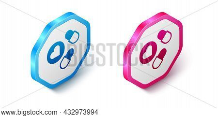 Isometric Medicine Pill Or Tablet Icon Isolated On White Background. Capsule Pill And Drug Sign. Pha