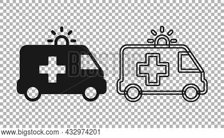 Black Ambulance And Emergency Car Icon Isolated On Transparent Background. Ambulance Vehicle Medical