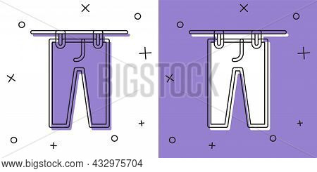 Set Drying Clothes Icon Isolated On White And Purple Background. Clean Pants. Wash Clothes On A Rope