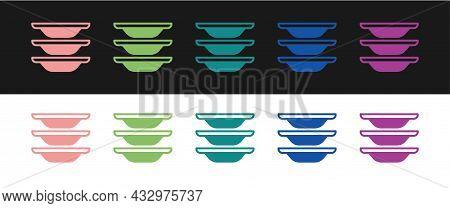 Set Washing Dishes Icon Isolated On Black And White Background. Cleaning Dishes Icon. Dishwasher Sig