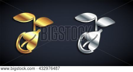 Gold And Silver Sprout Icon Isolated On Black Background. Seed And Seedling. Leaves Sign. Leaf Natur