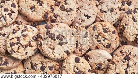 Homemade chocolate chips cookies. Traditional tasty sweets biscuits