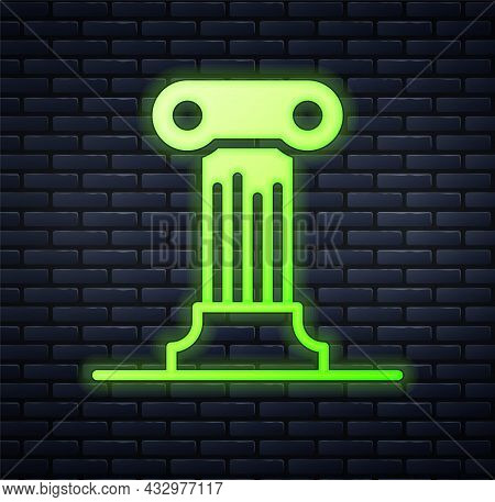 Glowing Neon Law Pillar Icon Isolated On Brick Wall Background. Ancient Column. Vector