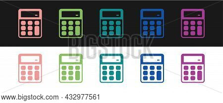Set Calculator Icon Isolated On Black And White Background. Accounting Symbol. Business Calculations