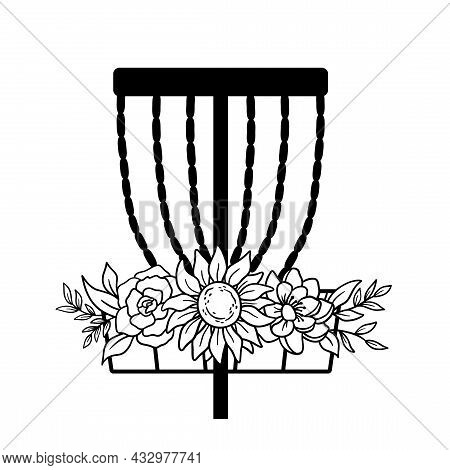 Disc Golf Basket Icon With Flowers. Vector Outline Illustration Isolated On White