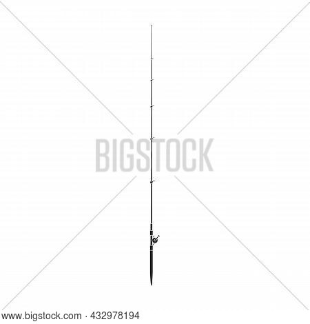 Fishing Rod Vector Icon.black Vector Icon Isolated On White Background Fishing Rod.