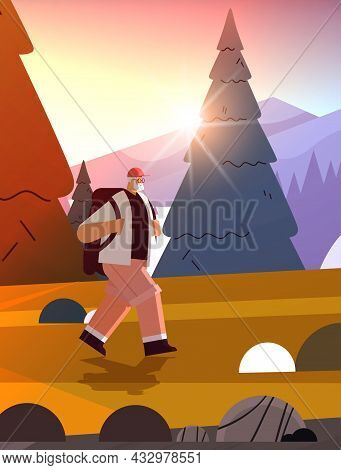Senior Man Hiker Traveling With Backpack Active Old Age Physical Activities Concept