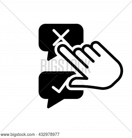 Black Solid Icon For Disagree Negative Positive Accept Agree Approve Confirm Agree Choice Choose