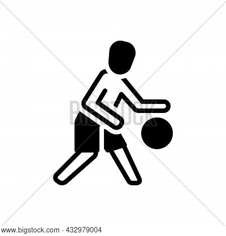 Black Solid Icon For Player Sportsman Gamester Athlete Footballer Competitor Football Play Ball