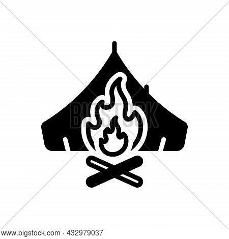 Black Solid Icon For Survival Campfire Bonfire Fire Flame Warmth Cottage Tent