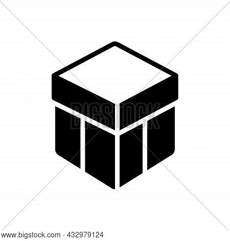 Black Solid Icon For Box Shipping Storage Gift Present Surprise Gift-box Package Parcel Wrapaping