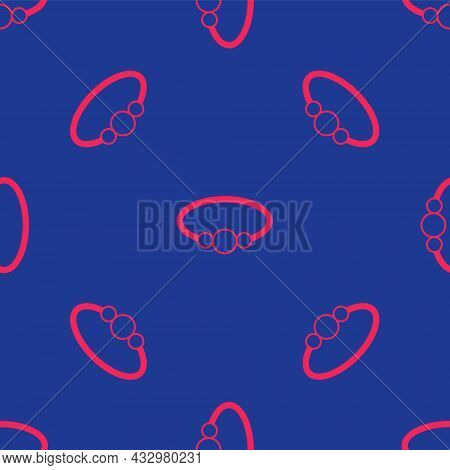 Red Bracelet Jewelry Icon Isolated Seamless Pattern On Blue Background. Bangle Sign. Vector