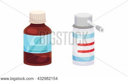 Vial With Tablet Or Pill And Spray As Pharmaceutical Medication Vector Set