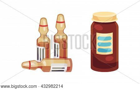 Glass Ampoule And Vial With Tablet Or Pill As Pharmaceutical Medication Vector Set