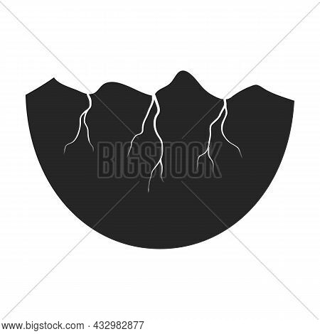 Half Egg Vector Icon. Black Vector Icon Isolated On White Background Half Egg.