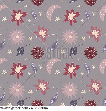 Scandinavian Fantasy Floral Seamless Pattern. Cute Doodles Curves Of Flowers, Leaves, Stars And Dott