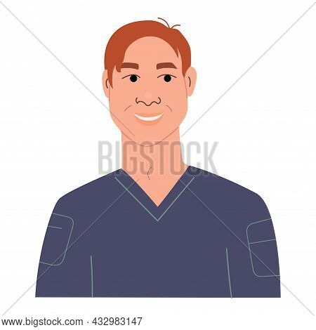 Portrait Of Happy Smiling Teen Boy. Avatar Of Funny Stylish Teenager Male Character. Flat Vector Ill