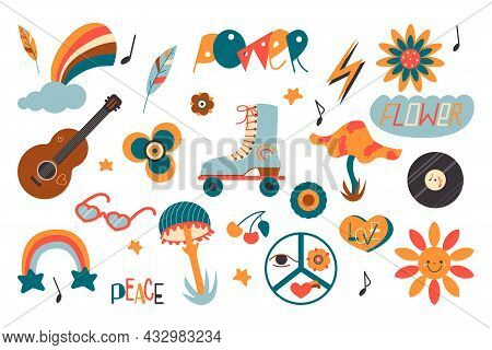 Hippie Retro Colorful Icons Set In Cartoon Style. Vintage Collection Of Hipster Elements. 1970s Colo