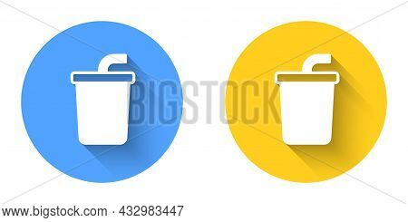 White Paper Glass With Drinking Straw And Water Icon Isolated With Long Shadow Background. Soda Drin