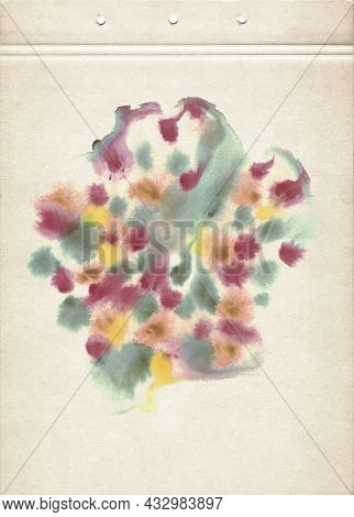 Colorful Watercolor Spot. Abstract Watercolor Painting On Old Paper. Multicolored Abstract Smudged T