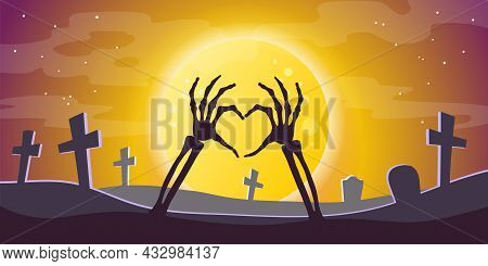Halloween Background. Full Moon Against A Dark Sky, Silhouettes Of Graves, Crosses In The Cemetery A