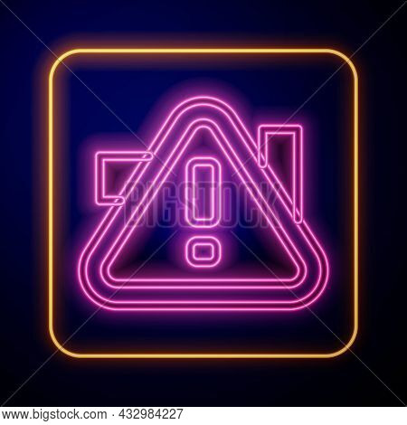 Glowing Neon Exclamation Mark In Triangle Icon Isolated On Black Background. Hazard Warning Sign, Ca