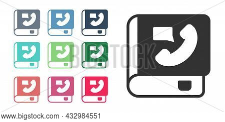 Black Phone Book Icon Isolated On White Background. Address Book. Telephone Directory. Set Icons Col