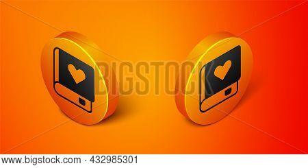 Isometric Romance Book Icon Isolated On Orange Background. Orange Circle Button. Vector