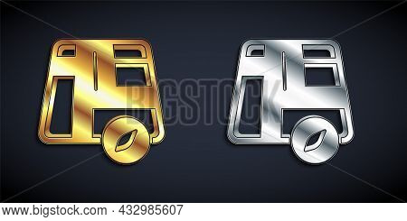 Gold And Silver Map Pointer With Taxi Car Icon Isolated On Black Background. Location Symbol. Long S