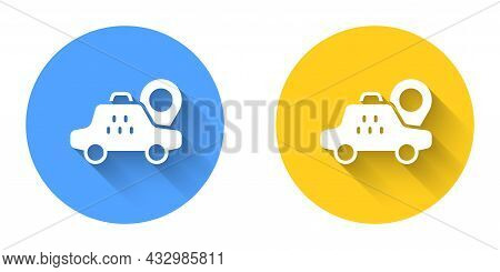 White Map Pointer With Taxi Car Icon Isolated With Long Shadow Background. Location Symbol. Circle B
