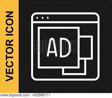 White Line Advertising Icon Isolated On Black Background. Concept Of Marketing And Promotion Process