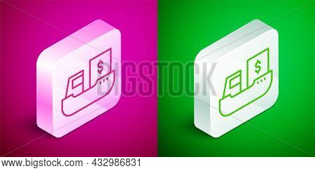 Isometric Line Cargo Ship With Boxes Delivery Service Icon Isolated On Pink And Green Background. De