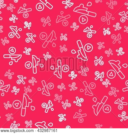 White Line Thriller Movie Icon Isolated Seamless Pattern On Red Background. Bloody Knife. Suspensefu