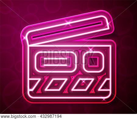 Glowing Neon Line Movie Clapper Icon Isolated On Red Background. Film Clapper Board. Clapperboard Si