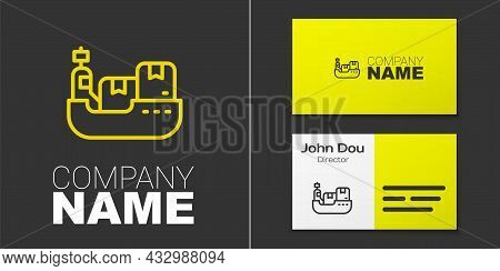 Logotype Line Cargo Ship With Boxes Delivery Service Icon Isolated On Grey Background. Delivery, Tra