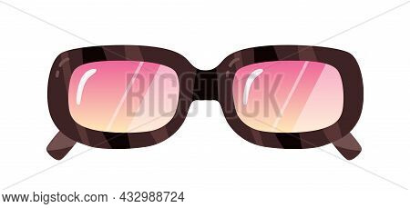 Fashion Rectangular Sunglasses With Thick Frame And Gradient Lenses. Stylish Retro Summer Sun Glasse