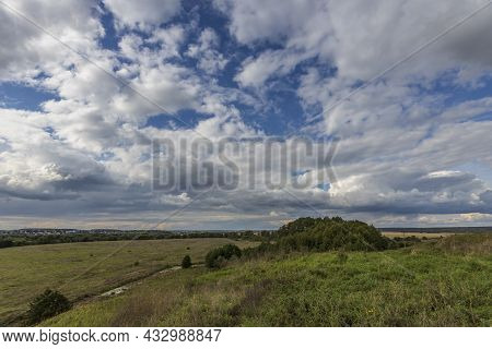 Summer Landscape Overlooking The Lake. Sunny Morning On The Lake. Picturesque Landscape With A Reser