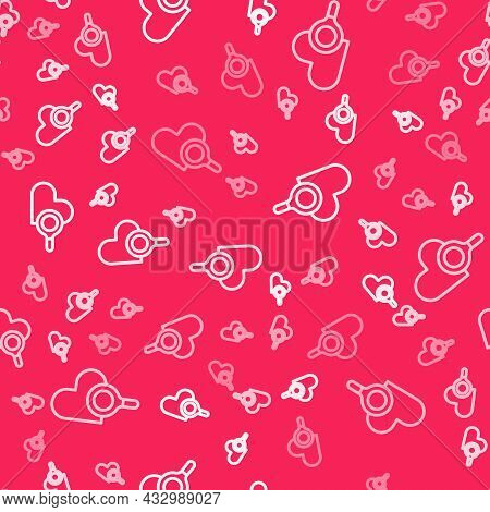 White Line Medical Heart Inspection Icon Isolated Seamless Pattern On Red Background. Heart Magnifie