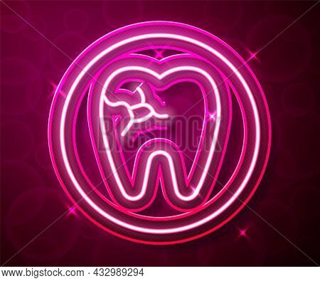 Glowing Neon Line Tooth With Caries Icon Isolated On Red Background. Tooth Decay. Vector